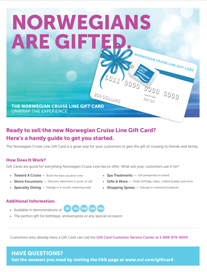 Norwegian Cruise Line Gift Card Launch - Michelle Bielecki, Copywriter